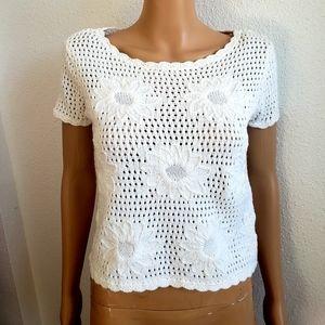 Liz Claiborne White Chocheted Cotton Top